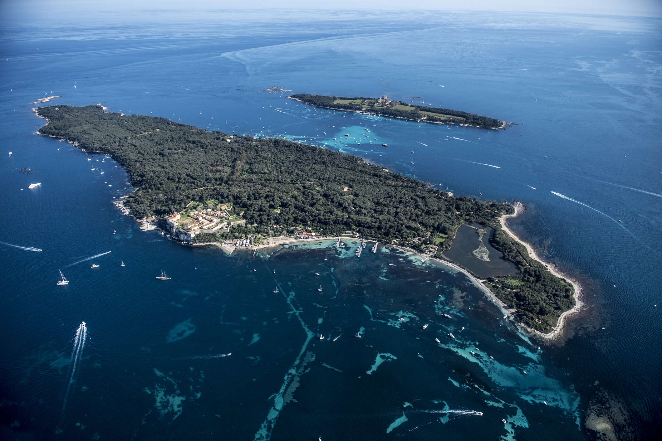 Aerial of Iles des Lerins National Park, French Riviera
