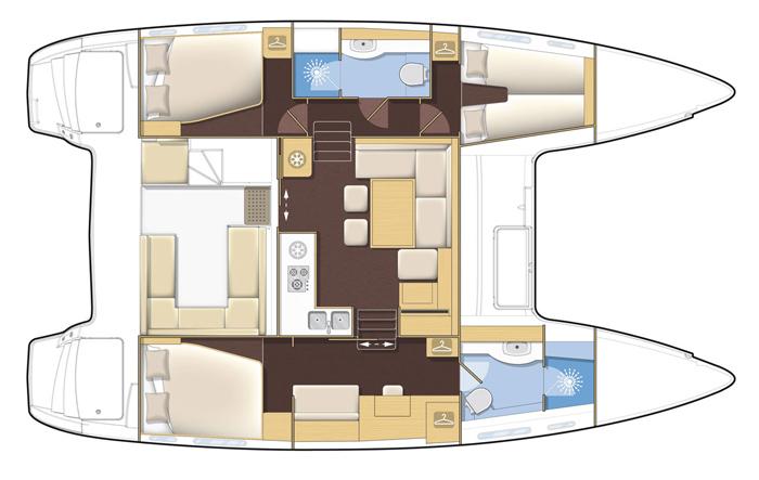 An example of a 3 cabin catamaran layout