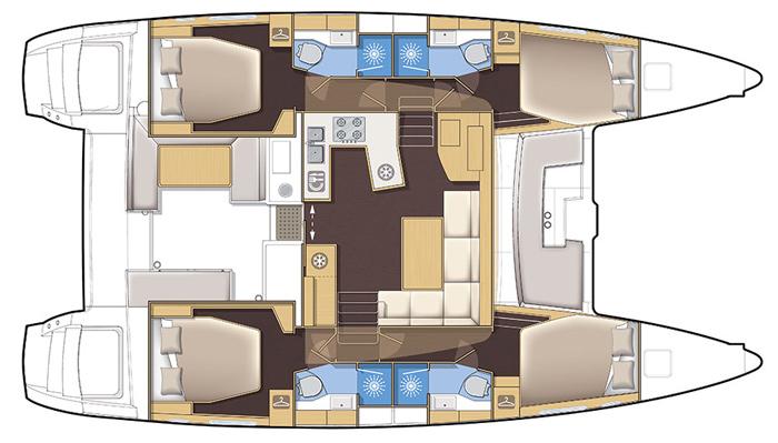 An example of a 4 cabin catamaran layout