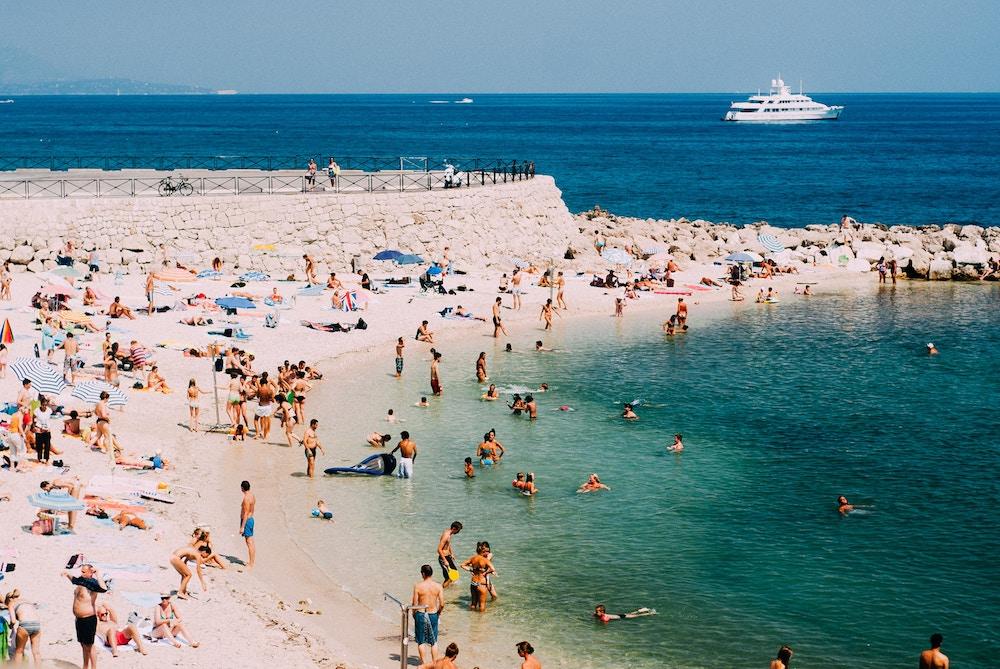 Antibes, beach, summer, yachts, sail, mediterranean