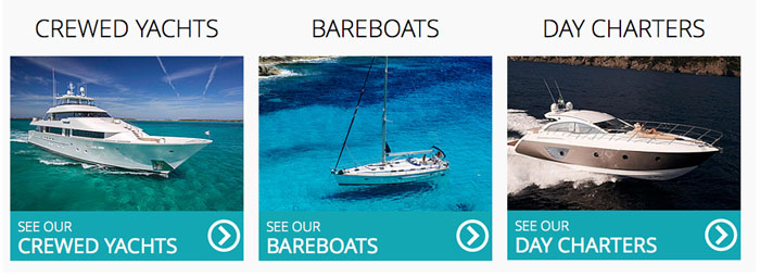 Easily select which type of yacht charter you would like