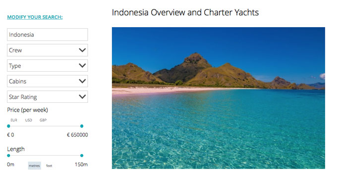 Search for a yacht in your preferred destination