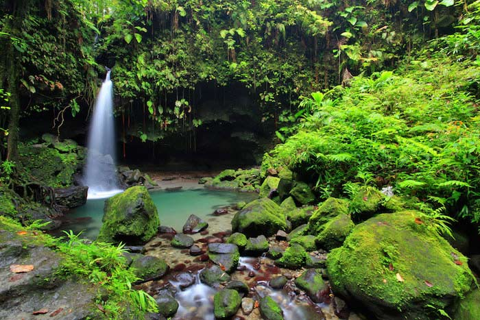 An impressive waterfall in Dominica