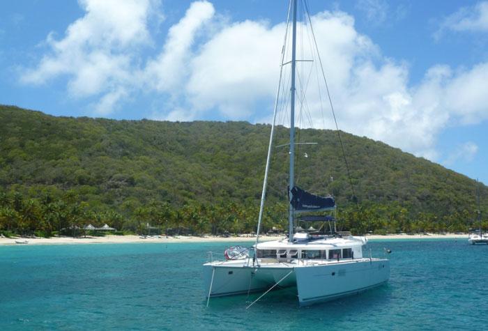 Charter a spacious catamaran to cruise in the Caribbean