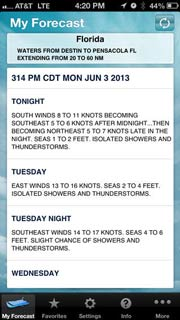 Boating Weather iPhone App for weather at sea