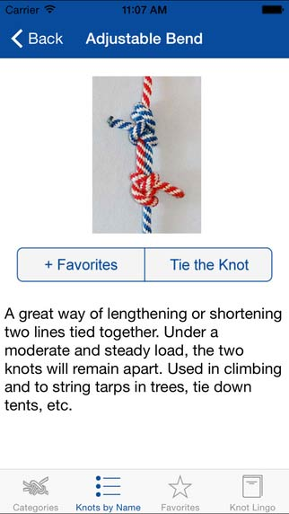 Knot Guide iPhone App for tying all sorts of knots