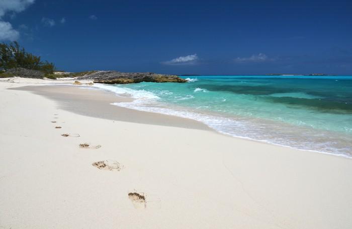 White sandy beaches in the Bahamas