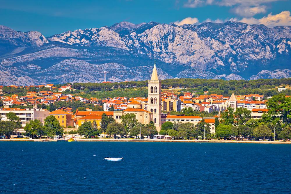 Zadar waterfront view from the sea, Dalmatia, Croatia