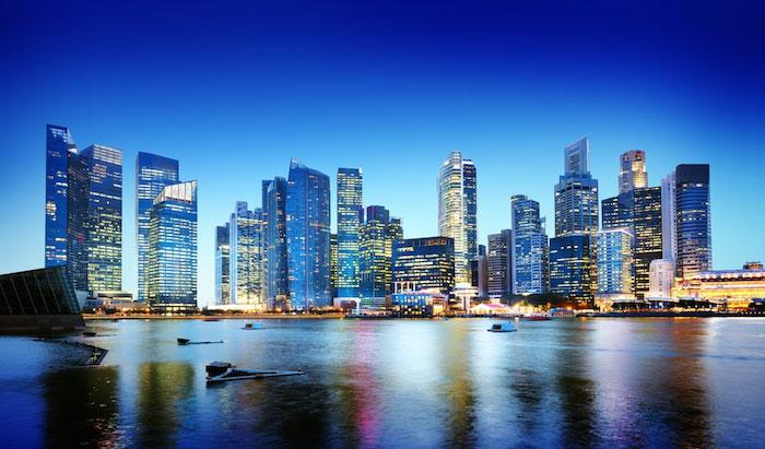 The bright evening skyline in Singapore
