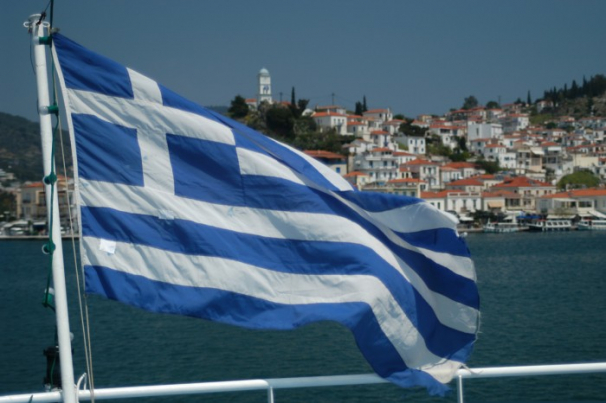 Greek-Flag-on-the-ferry-toward-Poros-island