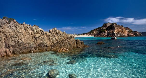 Crystal clear waters surround La Maddalena