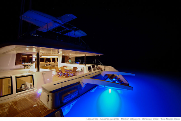A Lagoon 620's huge aft deck - beautiful by night