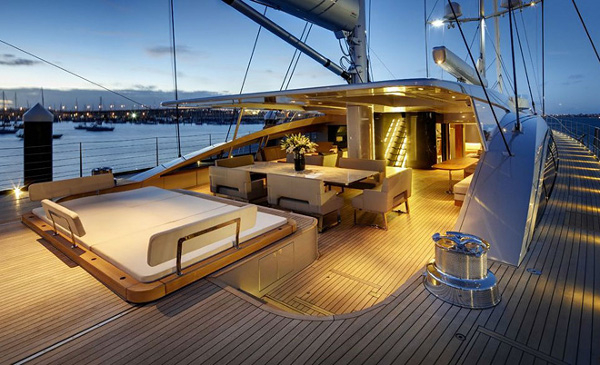 The beautiful aft deck after sunset