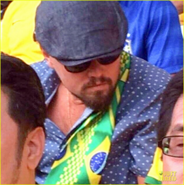Leonardo DiCaprio cheers for Brazil in the World Cup