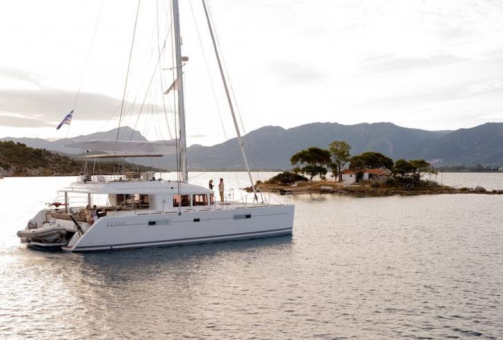 greece catamaran charter, crewed catamaran charter, greece yacht charter