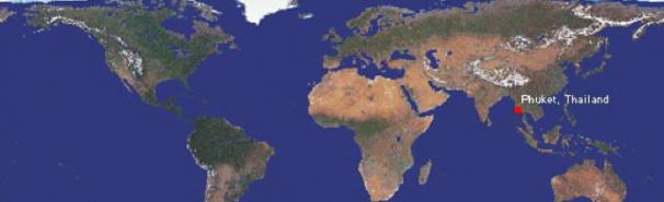 World map showing Phuket, Thailand