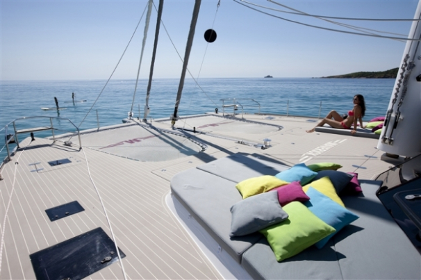 The bow of a luxury catamaran