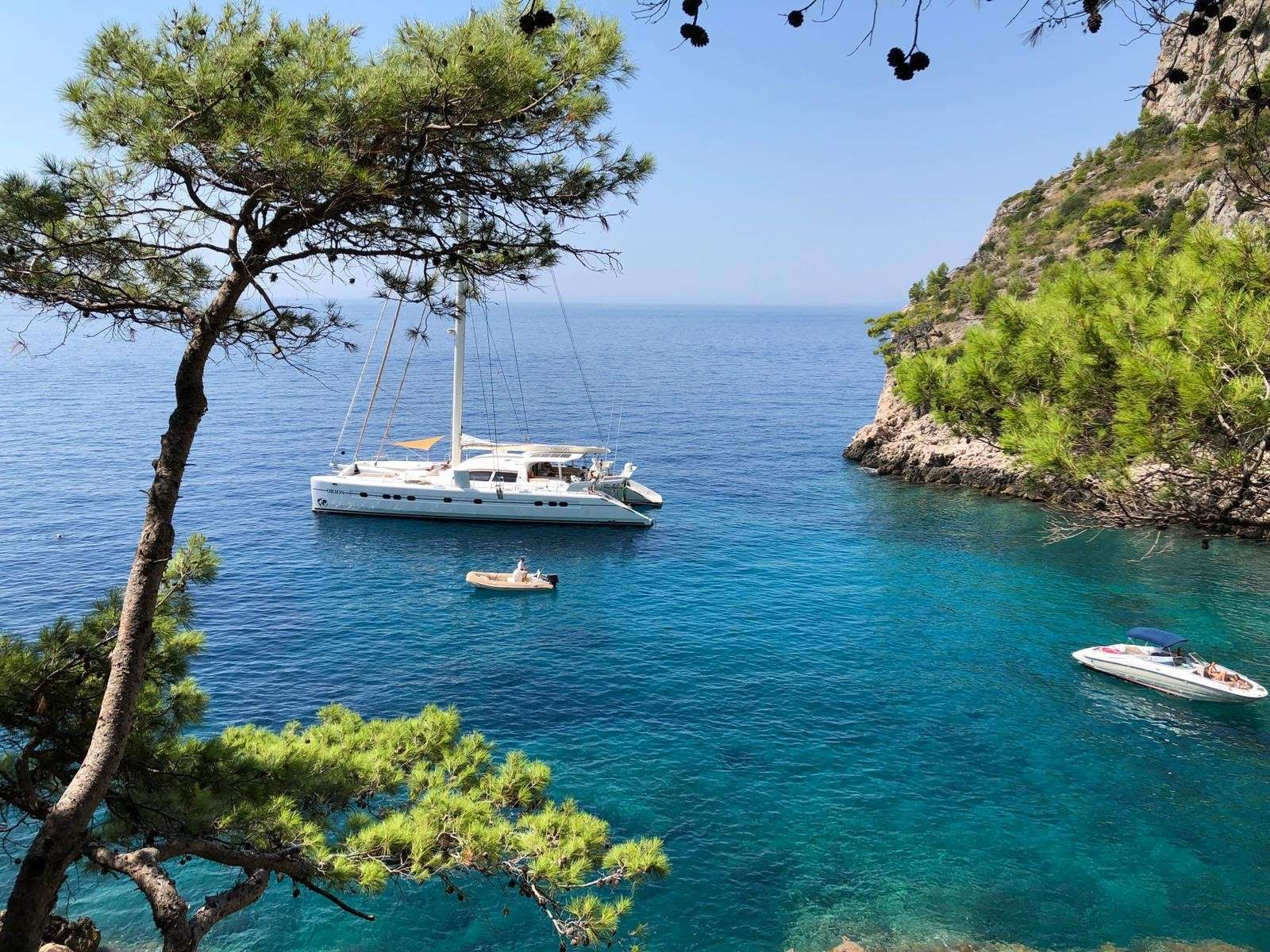 ORION Catana 90 Moored in a quiet bay