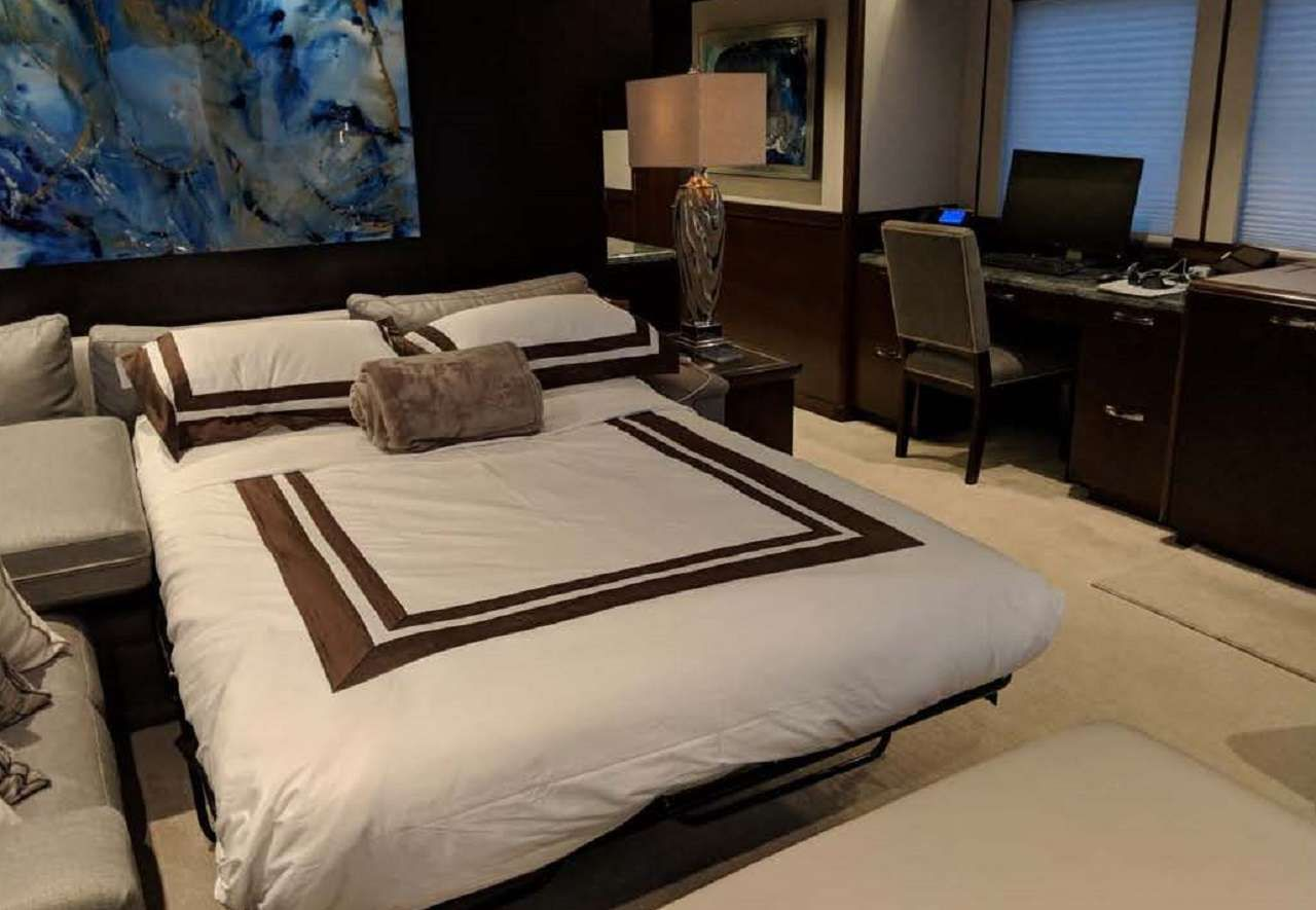 Sky Lounge set up as 5th stateroom