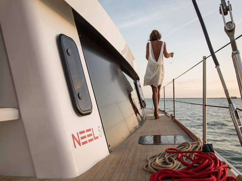 Generous deck clearance that leads to a flat foredeck with large trampolines