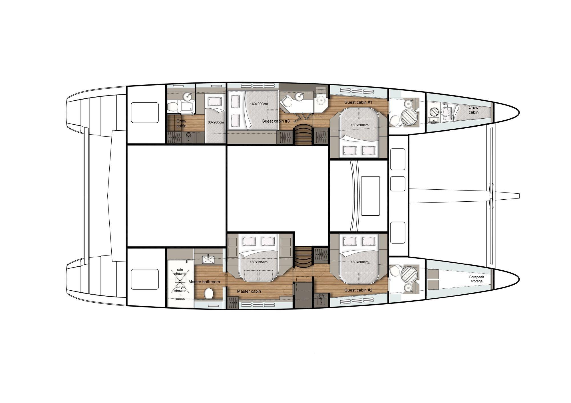 ADEA Sunreef 60 Luxury Catamaran  Lower Deck