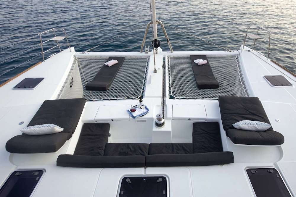Crewed Catamaran BOOM Bow
