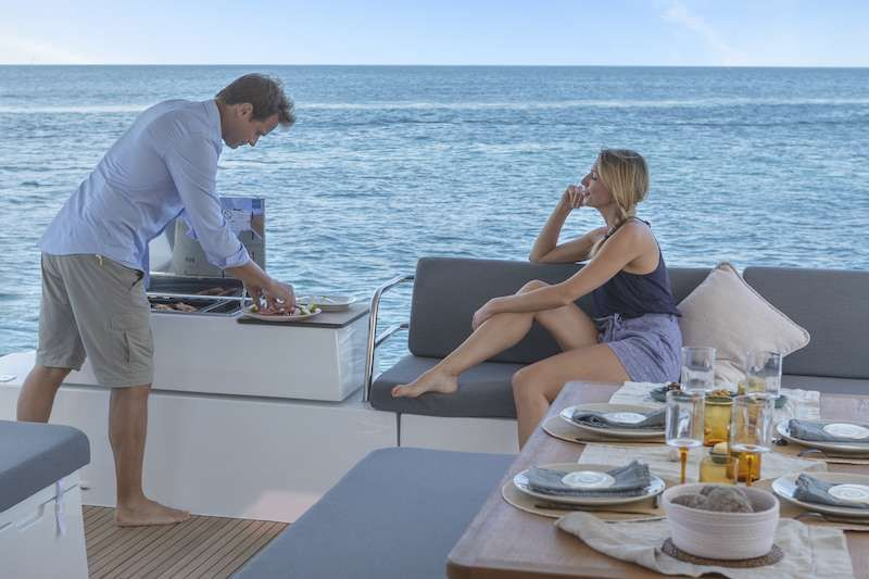 Fountaine Pajot Elba 45 CHAMPAGNE Aft Deck