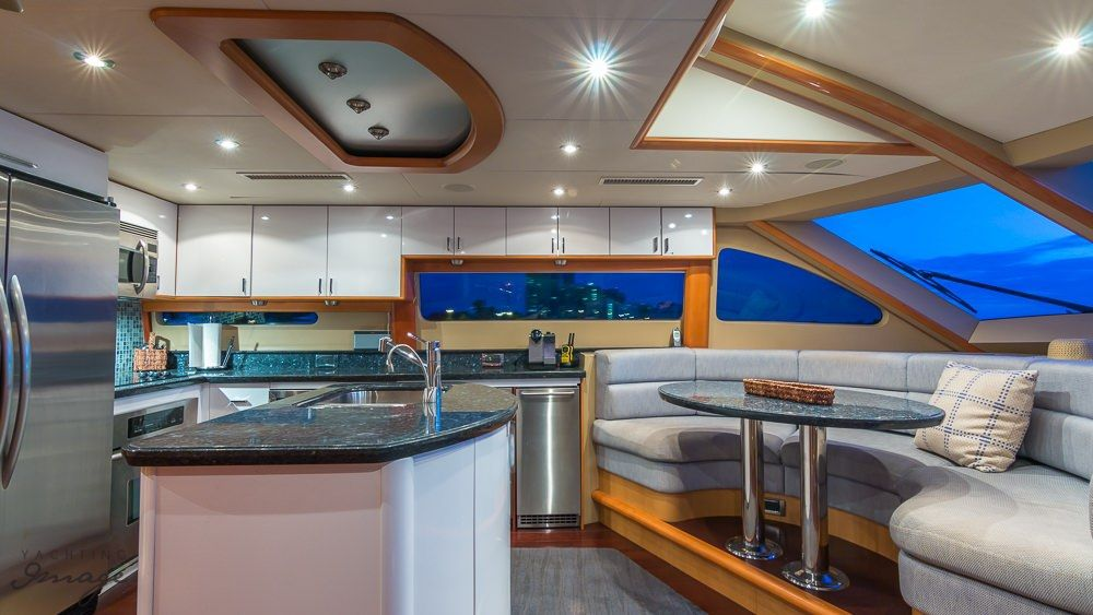 Miami Day Charter Yacht CHIP Lazzara 84 Galley Dining Area