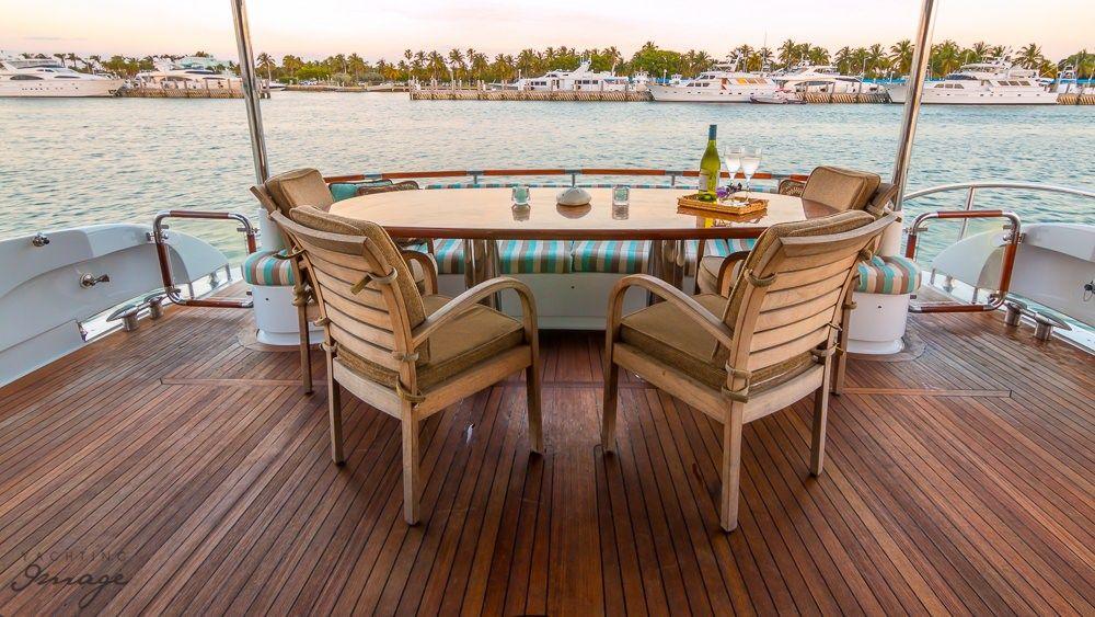 Miami Day Charter Yacht CHIP Lazzara 84 Al Fresco Dining