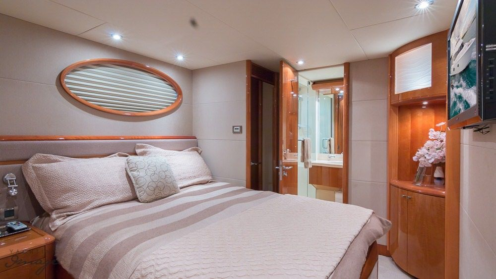 Miami Day Charter Yacht CHIP Lazzara 84 Guest Cabin