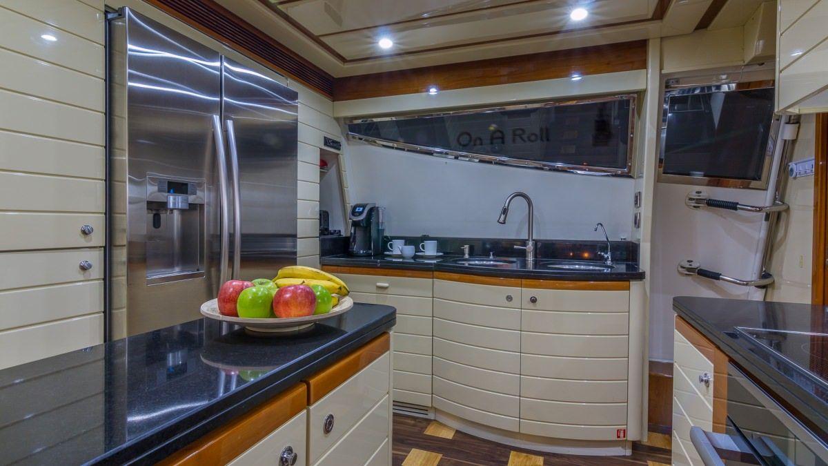 Miami Day Charter Yacht CINQUE MARE Ferretti 88 Galley