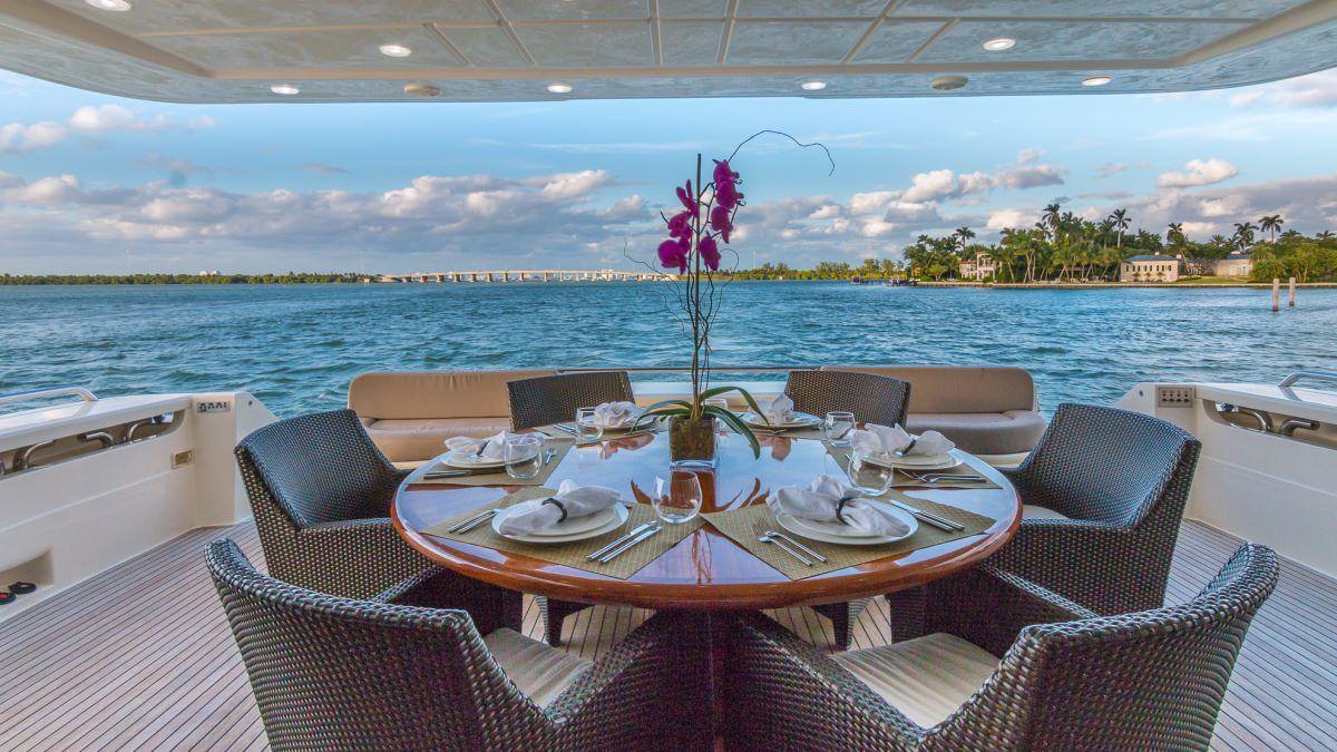 Miami Day Charter Yacht CINQUE MARE Ferretti 88 Aft Deck Al Fresco