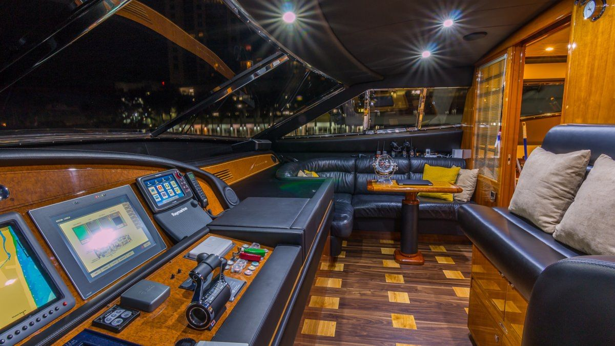 Miami Day Charter Yacht CINQUE MARE Ferretti 88 Wheelhouse