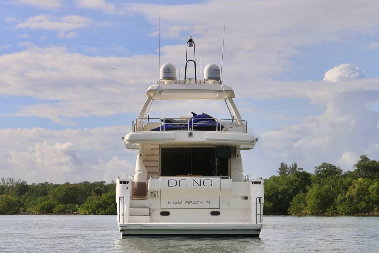 Miami Day Charter Yacht DR NO Ferretti 75 Rear View