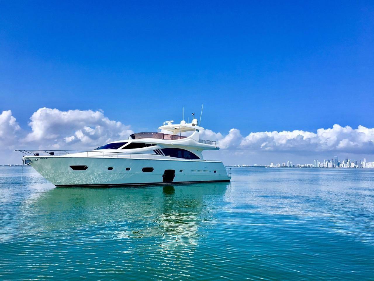 Miami Day Charter Yacht DR NO Ferretti 75 Anchored