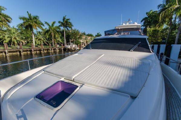 Miami Day Charter Yacht DR NO Ferretti 75 Bow