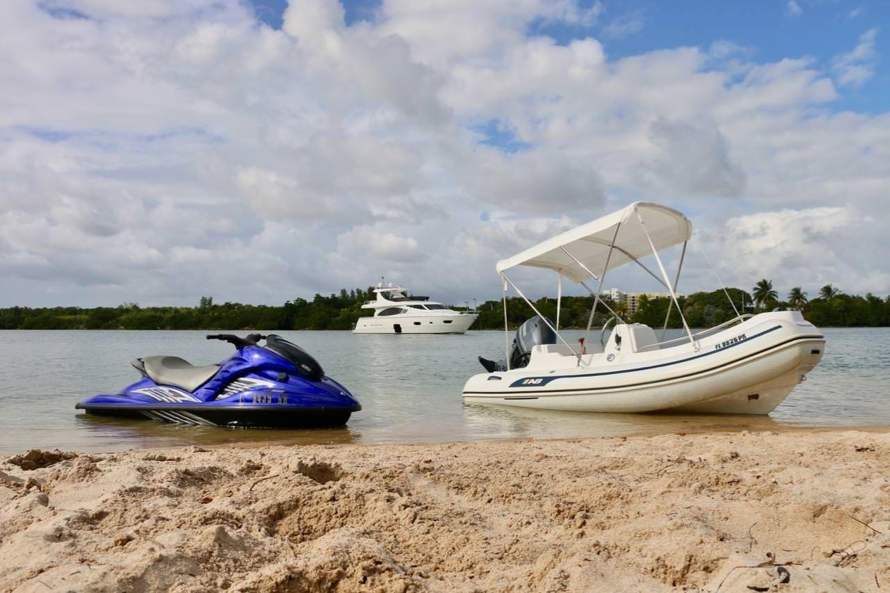 Miami Day Charter Yacht DR NO Ferretti 75 Dinghy + Waverunner