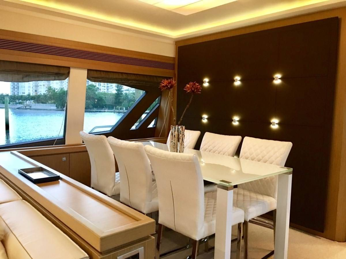Miami Day Charter Yacht DR NO Ferretti 75 Dining Room