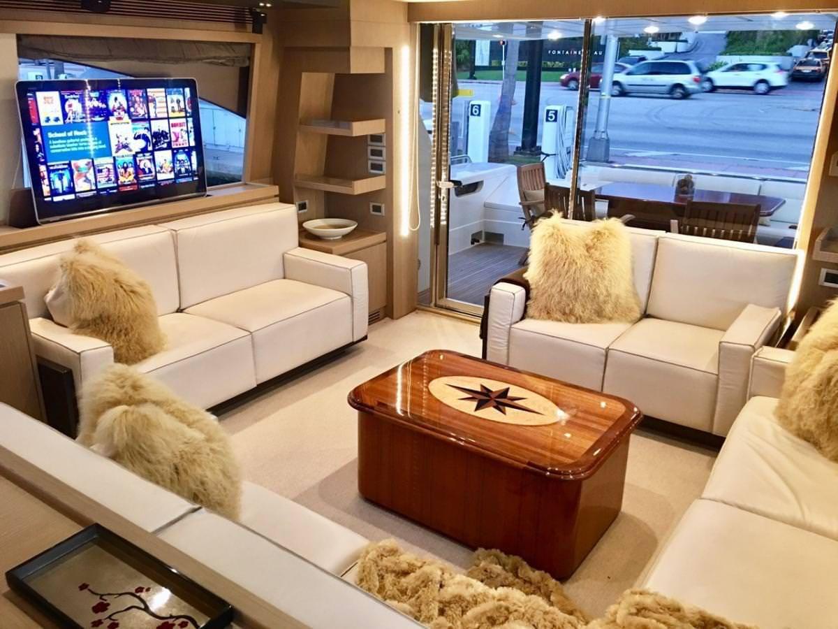 Miami Day Charter Yacht DR NO Ferretti 75 Salon
