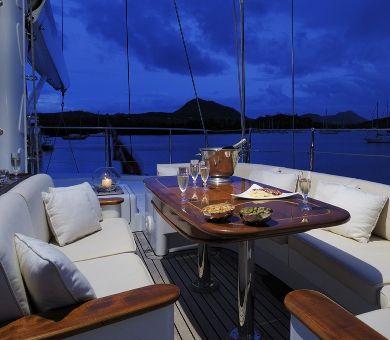 DRUMBEAT Alloy 53m Luxury Sailing Yacht Bridge Deck Dining