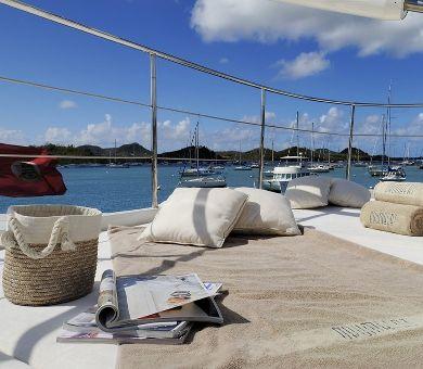 DRUMBEAT Alloy 53m Luxury Sailing Yacht Bridge Deck Sunbathing Area