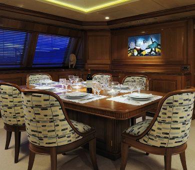 DRUMBEAT Alloy 53m Luxury Sailing Yacht Dining
