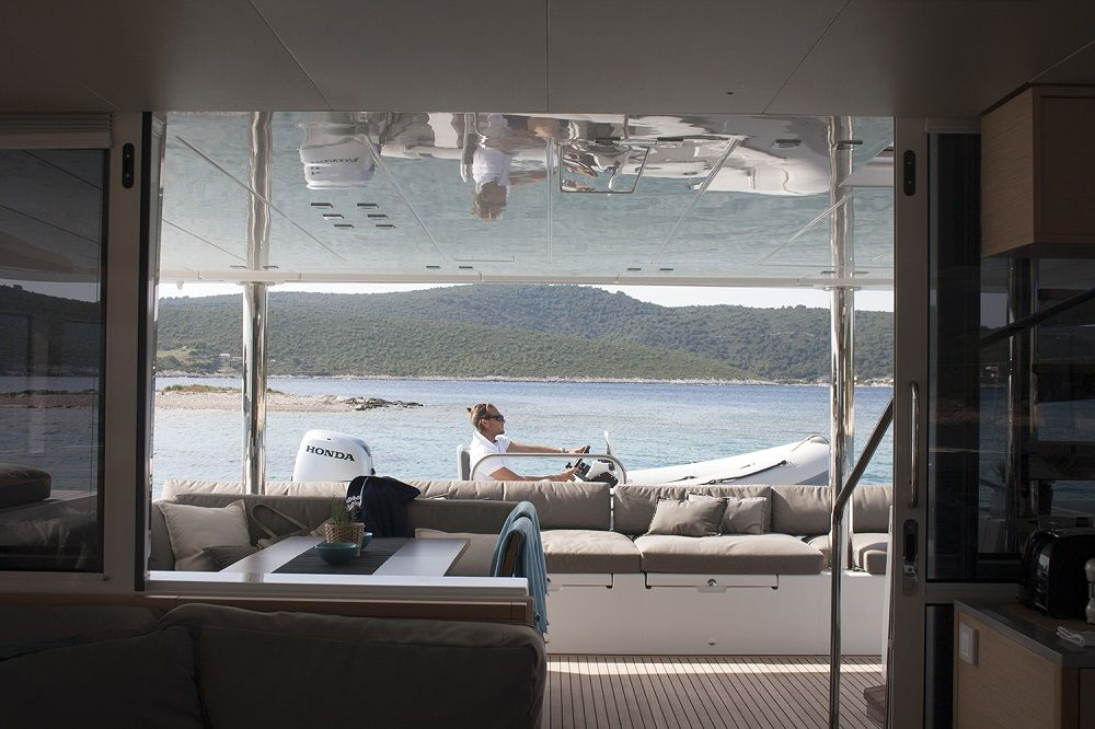 EAGLE OF NORWAY - Crewed Catamaran - Stern View from Saloon