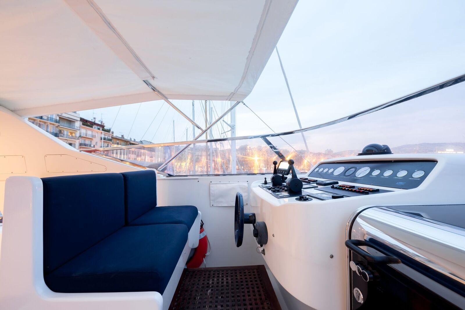 INDULGENCE OF POOLE Mangusta 86 Luxury Superyacht Helm