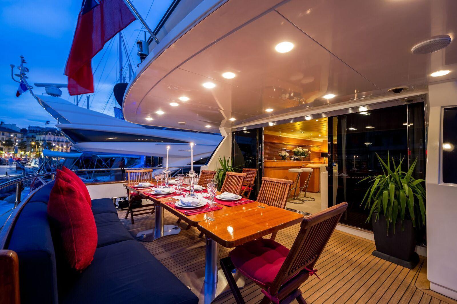 INDULGENCE OF POOLE Mangusta 86 Luxury Superyacht Aft Deck Dining
