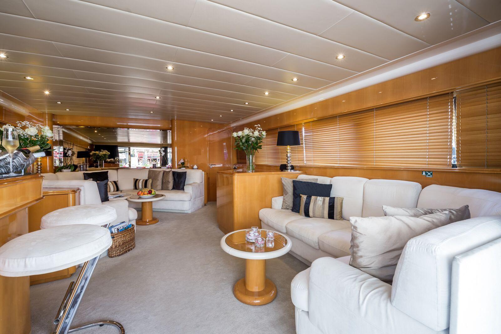 INDULGENCE OF POOLE Mangusta 86 Luxury Superyacht Saloon