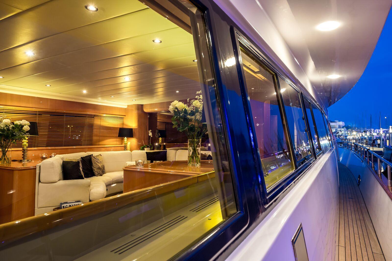 INDULGENCE OF POOLE Mangusta 86 Luxury Superyacht Walkway
