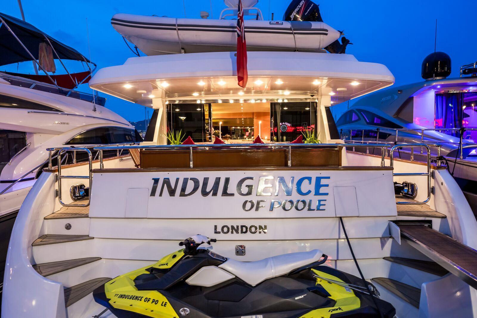 INDULGENCE OF POOLE Mangusta 86 Luxury Superyacht Aft Deck