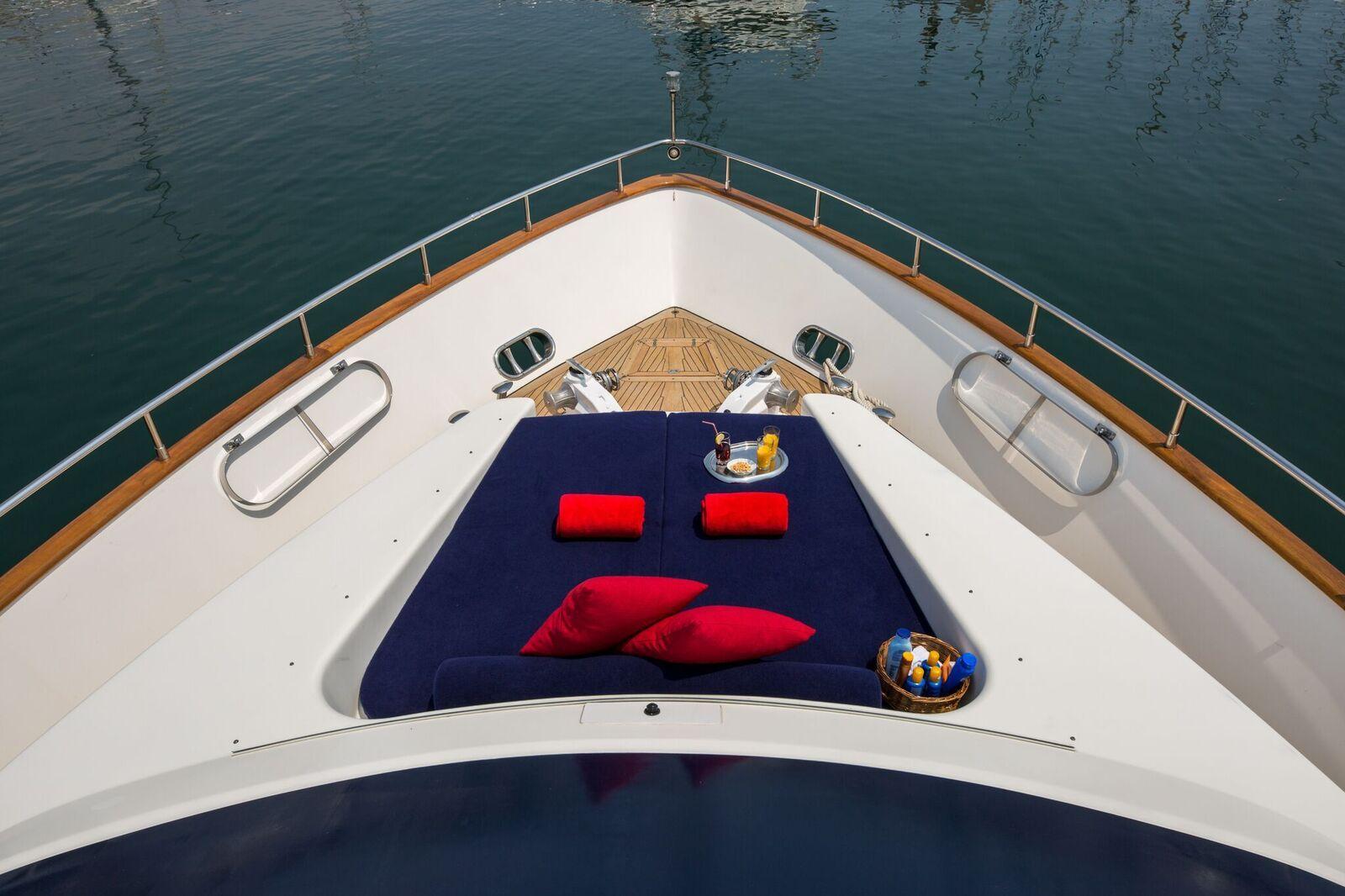INDULGENCE OF POOLE Mangusta 86 Luxury Superyacht Bow