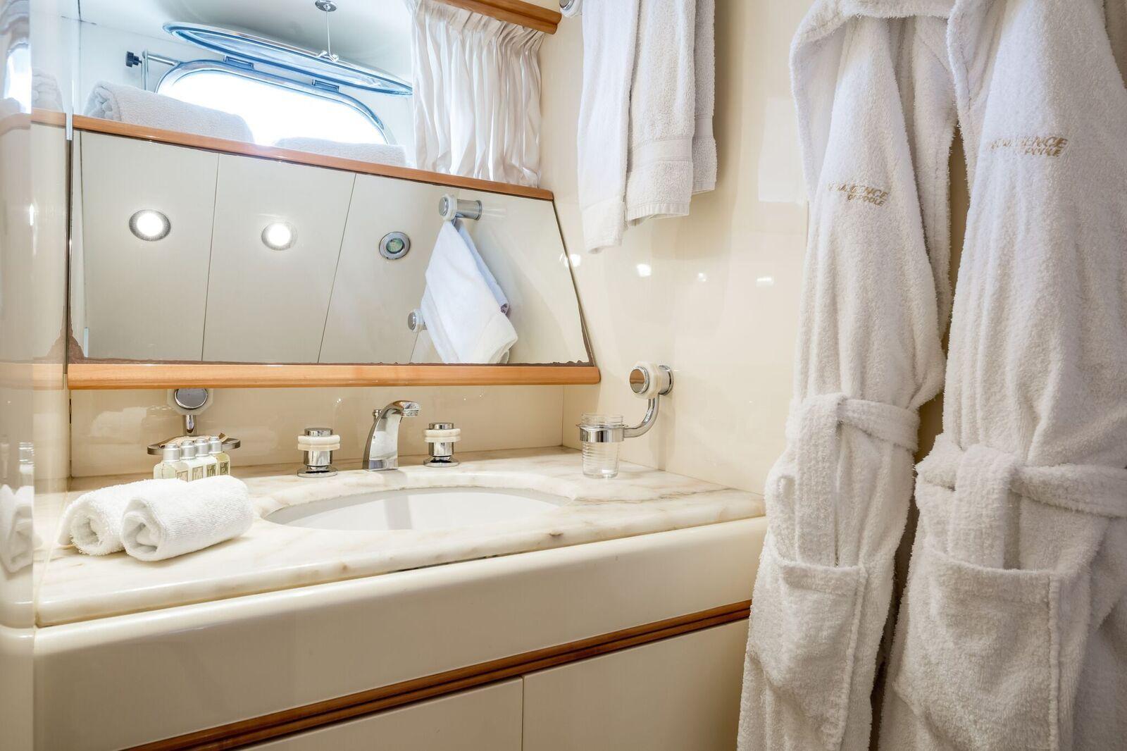 INDULGENCE OF POOLE Mangusta 86 Luxury Superyacht Bathroom